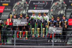 BlancpainGT Monza overall Podium: P1 - Klaus Bachler, Andrea Rizzoli, Zaid Ashkanani | P2 - Andrea Caldarelli, Marco Mapelli, Dennis Lind | P3 - Yelmer Buurman, Luca Stolz, Maro Engel | © BlancpainGTSeries